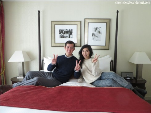 Vivian and I on the bed in the Lennon & Ono suite. We're giving peace a chance!